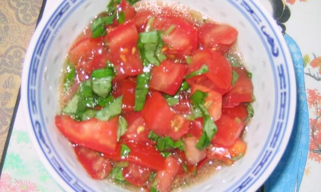 Homegrown Tomatoes with Basil & Lemon Juice
