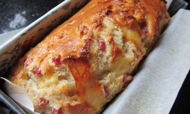 """No-Knead"" Ham & Cheese Bread Loaf"
