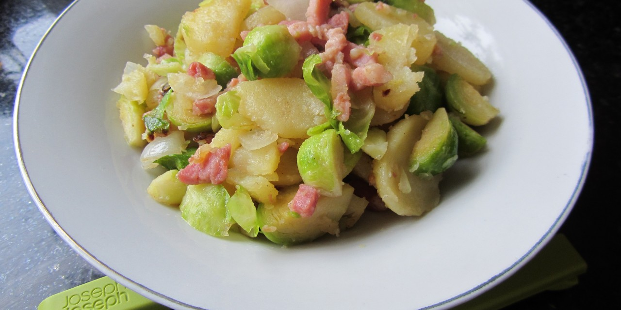 Brussel Sprouts, Potatoes & Bacon Fry