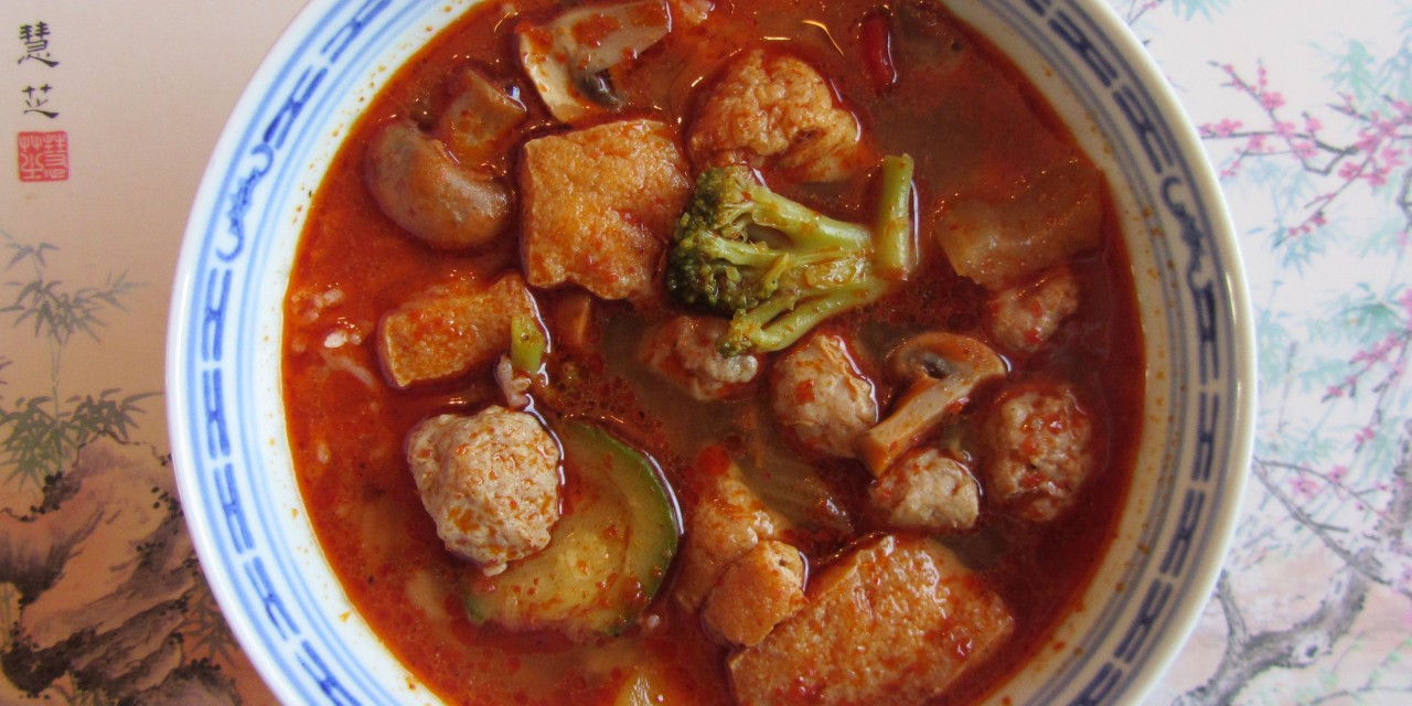 Sausage Balls & Vegetables in Hot Sichuan Soup
