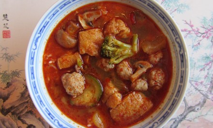 Sausage Balls & Vegetables in Hot Sichuan Soup