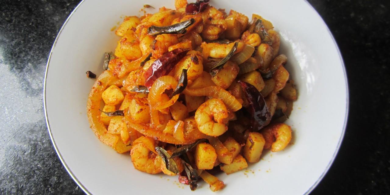 Prawn & Potato Chilli Dry-Fry