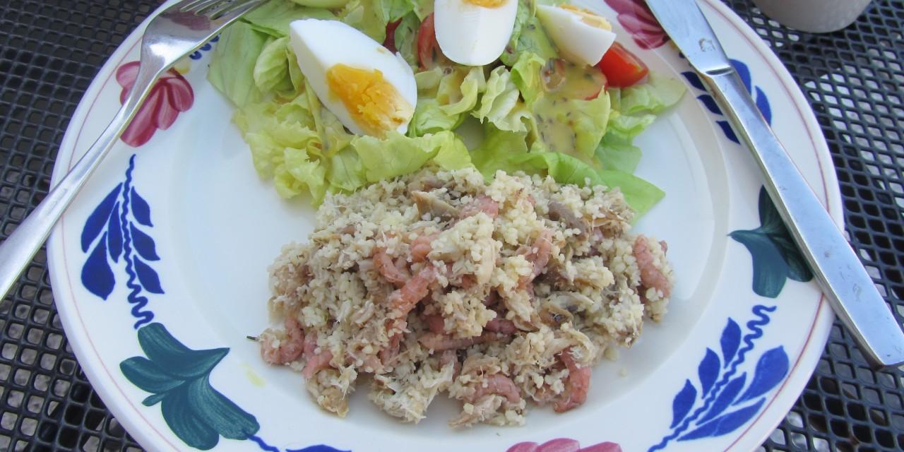 Mackerel Shrimp CousCous Salad