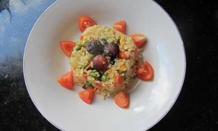 Fried Rice with Chinese Sausage, Runner Beans & Carrots