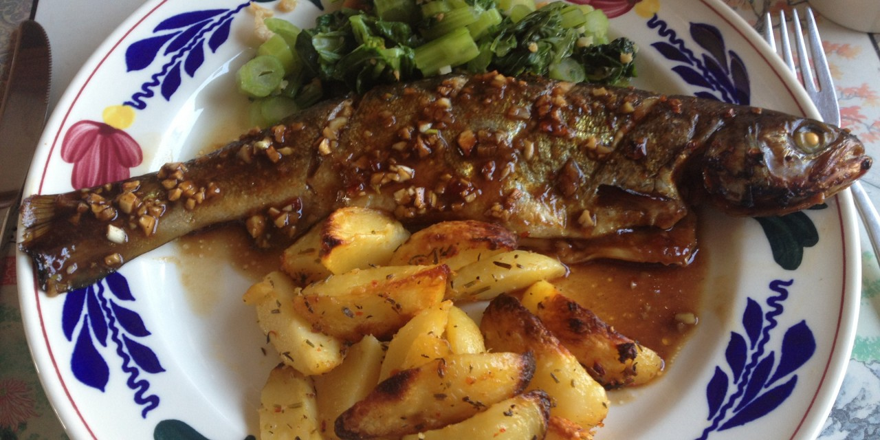 Baked Whole Trout in Garlic-Asian Sauce