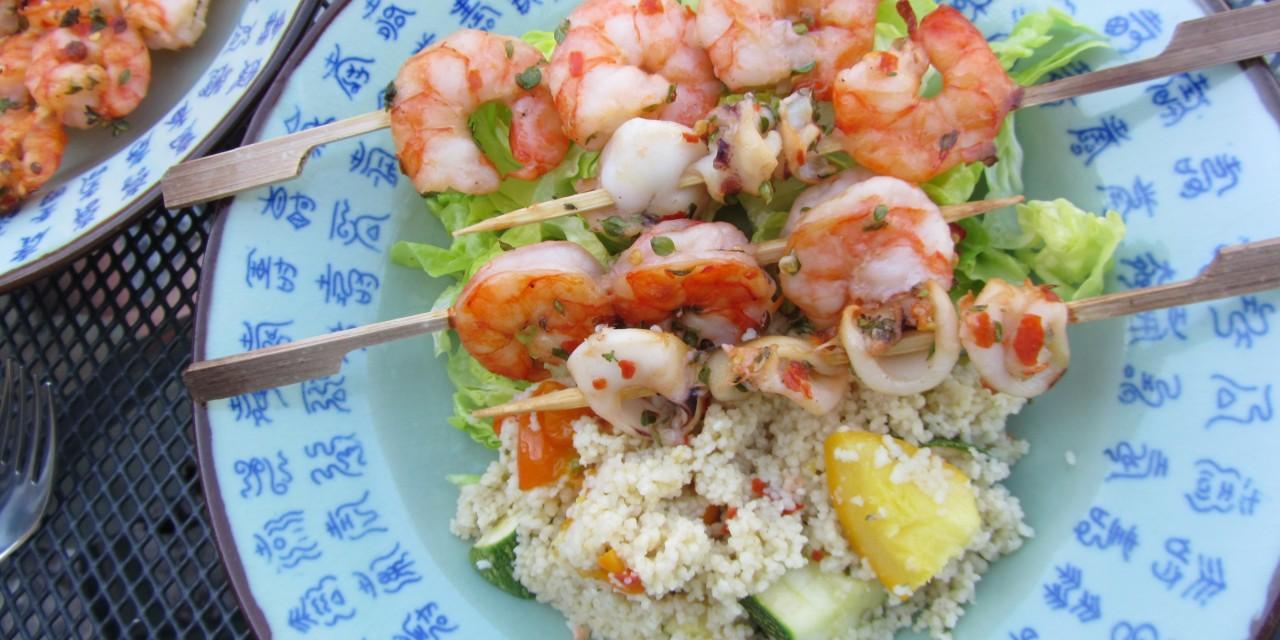 Lemon Thyme & Chilli Prawns & Baby Squid