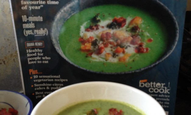 Broccoli & Watercress Soup with Crispy Chorizo Crumbs