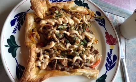 Shoarma, Cabbage & Mozzarella Tart